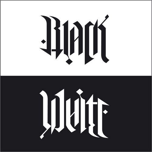 "Tattoo Word Generator: ""Black / White"", Rotational Ambigram"