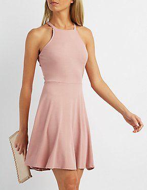 Ribbed Bib Neck Skater Dress - dresses, sweater, skater, homecoming, long, pink dress *ad