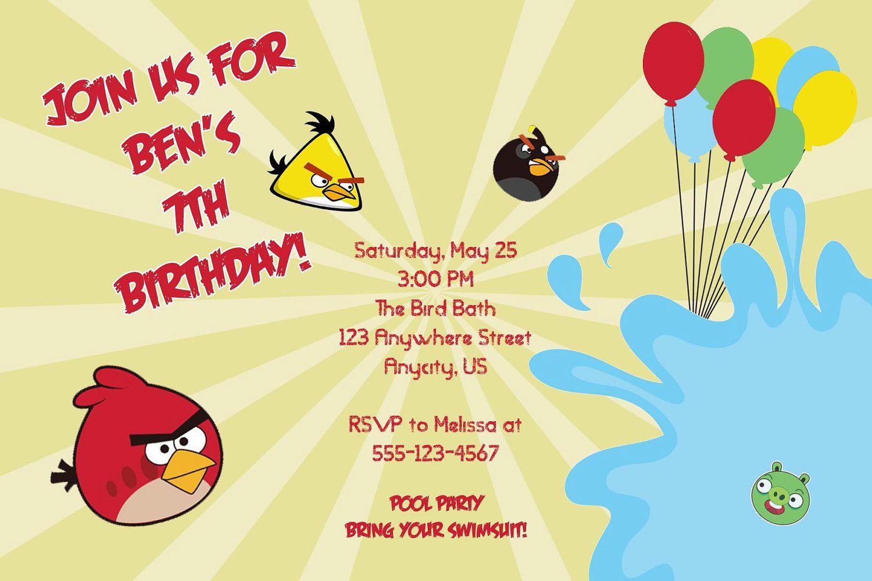 Angry Birds Custom Printable Birthday Party Invitation. $10.25 ...
