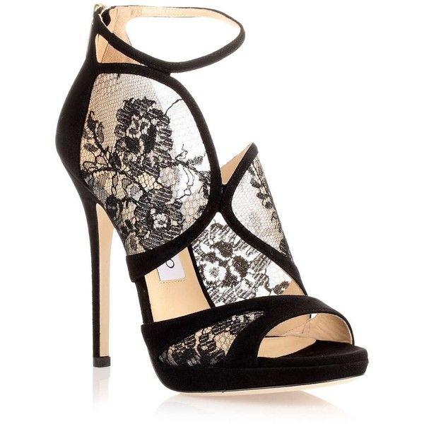 Jimmy Choo Flyte black suede lace sandal (12.814.030 IDR) ❤ liked on Polyvore featuring shoes, sandals, heels, high heels, sapatos, black heel sandals, platform heel sandals, black lace sandals, heels stilettos and high heels stilettos