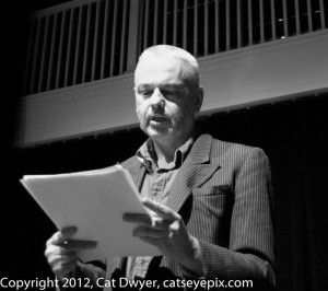 """""""As Close As You'll Ever Be"""" reading by author Seamus Scanlon at the cell theater during the Artists Without Walls showcase, February 26, 2013. Photo: Cat Dwyer https://www.artistswithoutwalls.com/tag/the-cell-theatre/"""