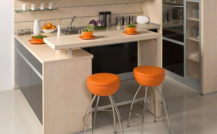 cocinas con barra de color naranja Barra cocina Pinterest - cocinas con barra