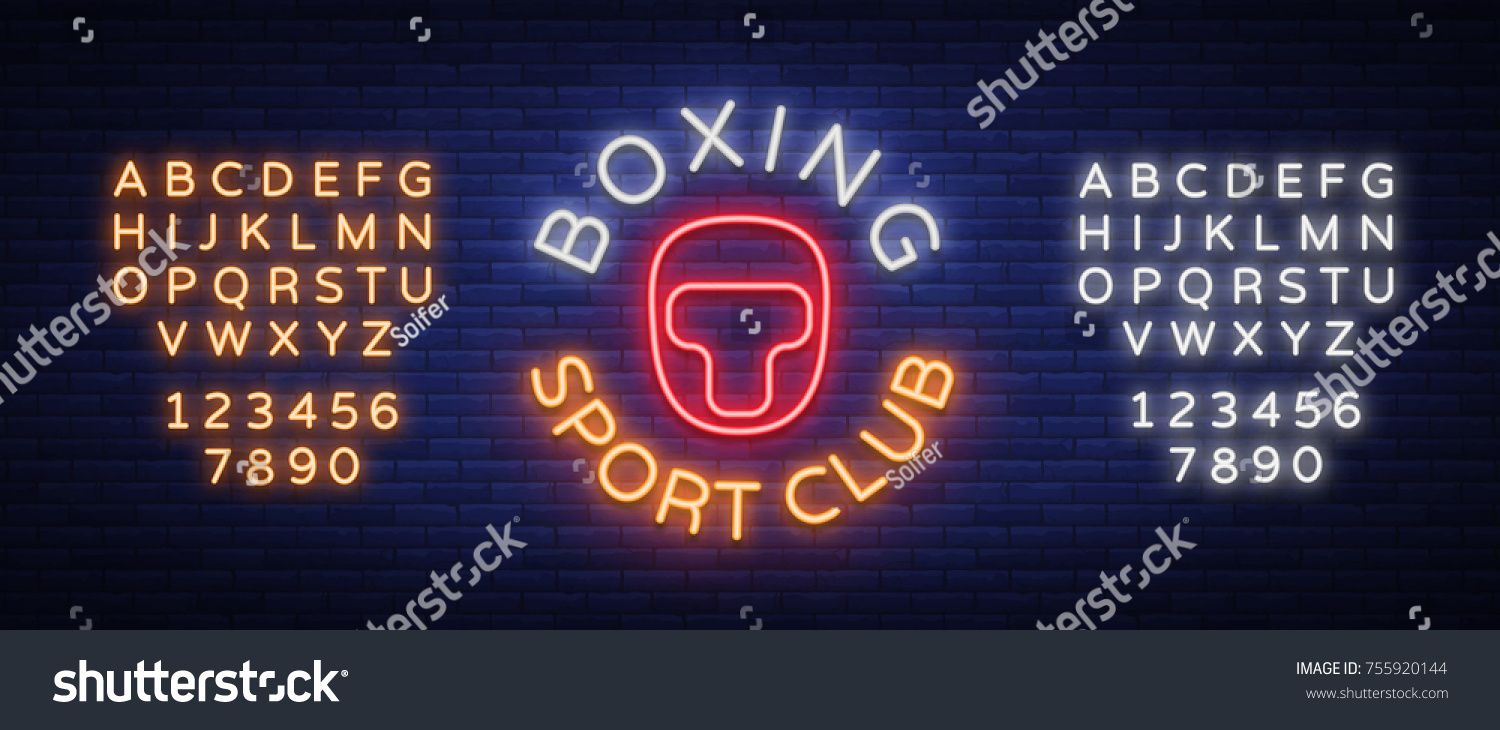 Boxing Sports Club Logo Sign In Neon Style Vector Illustration