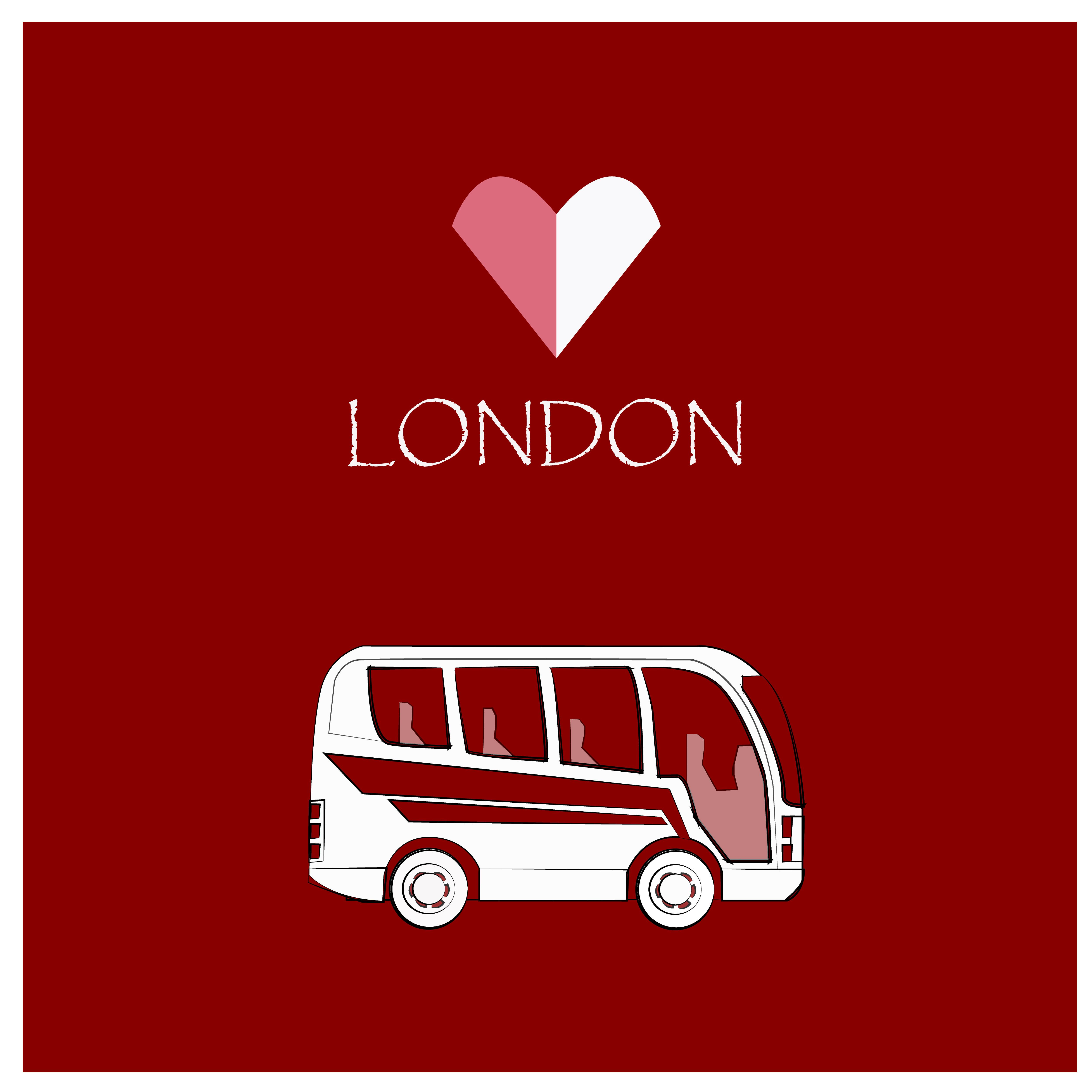 Bus London Vector Isolated Illustration Red Background City Symbol Design Travel Retro Cartoon Transport Tourism Transportatio London Vector Bus