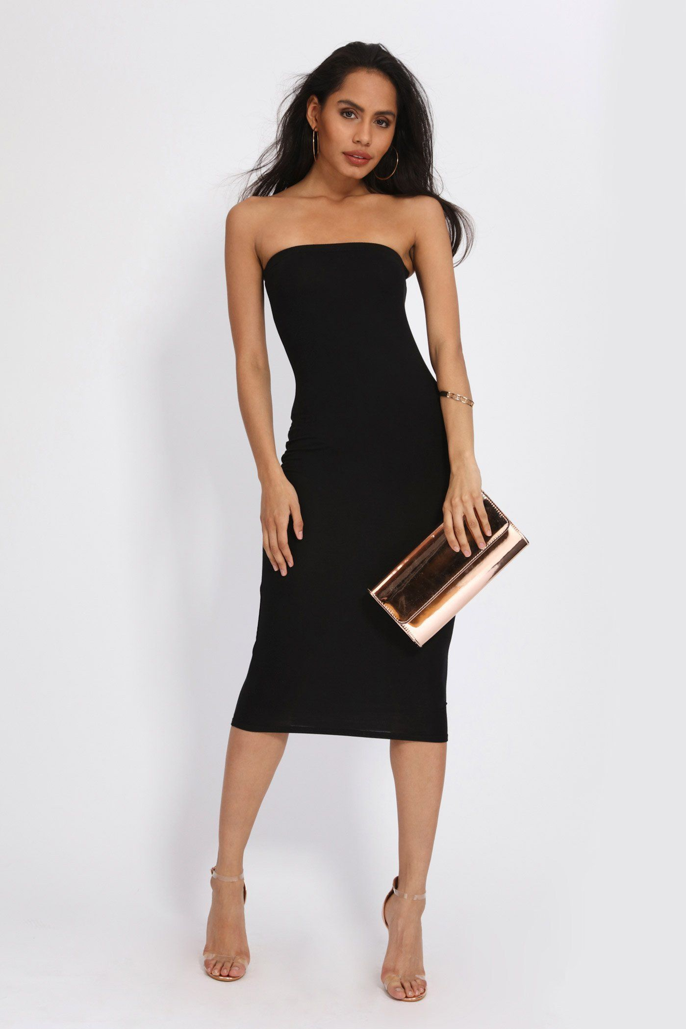 Jersey bandeau midi dress strapless dress formal