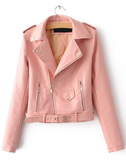 d50cd73d7ae Pink Faux Leather Belted Moto Jacket With Zipper