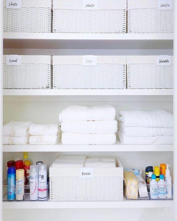 9 Ways To Organize Your Linen Closet That Ll Make You Feel Like Marie Kondo Linen Closet Organization Linen Closet Simple Bathroom Renovation