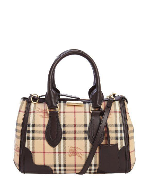 739b0949f081 Burberry chocolate coated canvas small  Haymarket Check Gladstone  tote bag