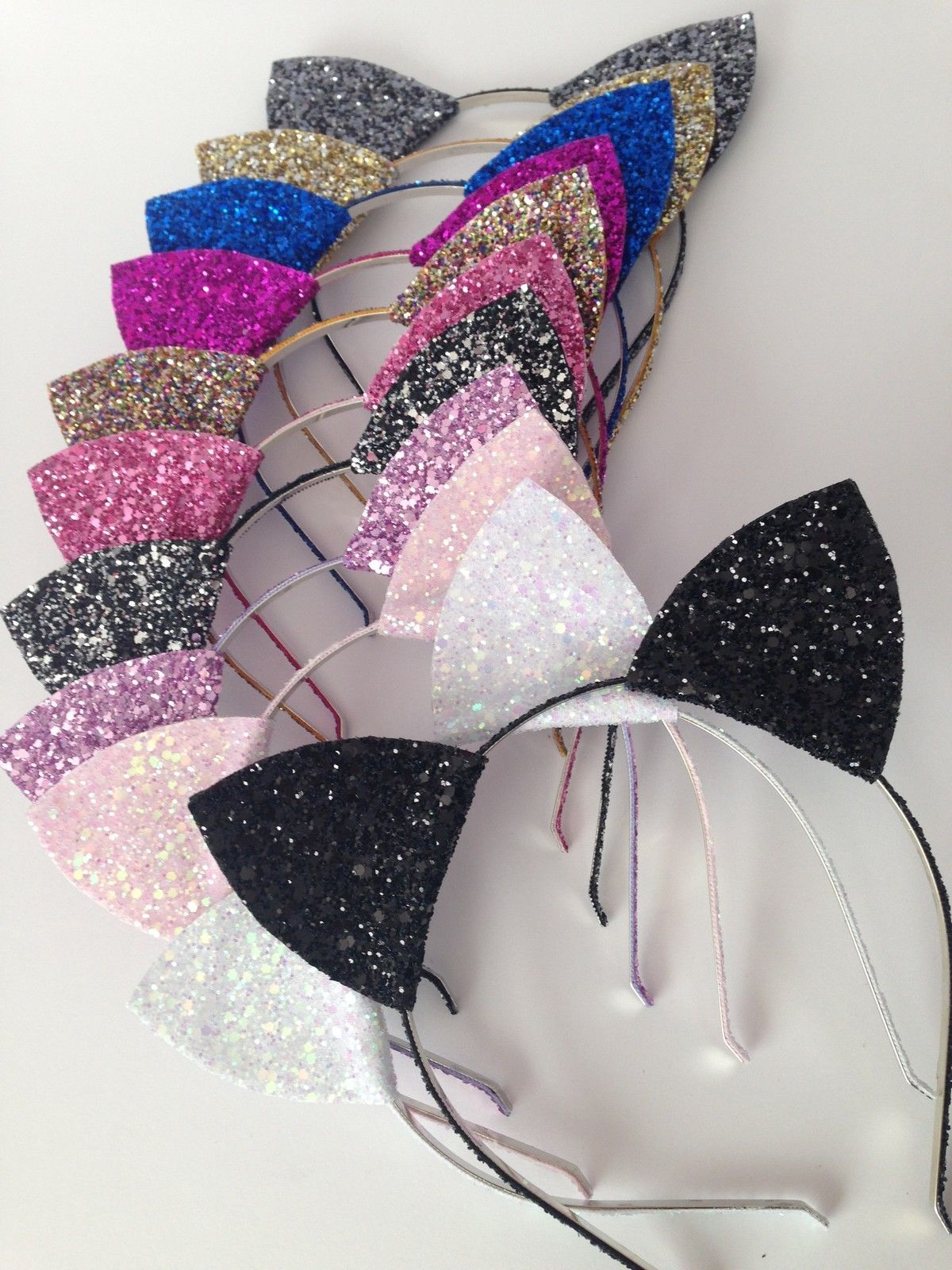 glitter cat ears headband, halloween cat ears, christmas headband