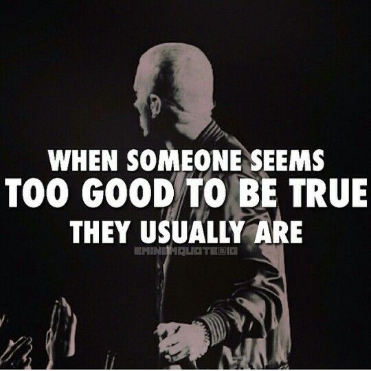 when someone seems too good to be true they usually are
