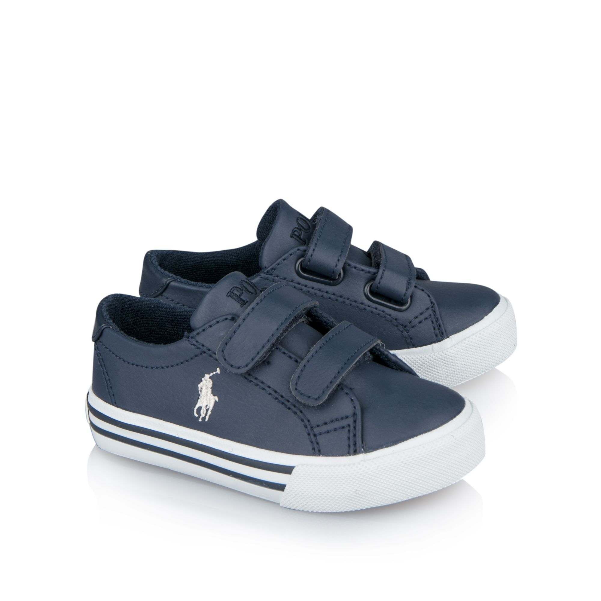 d7019665963ec Boys navy velcro strap leather trainers by Ralph Lauren. Discover the  latest boys designer clothes and accessories from Base Fashion and enjoy  free delivery ...