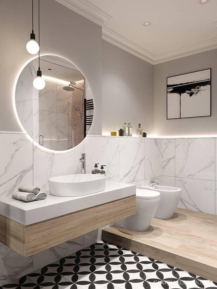 Salle de bains marbre + bois Salle de bain moderne Pinterest