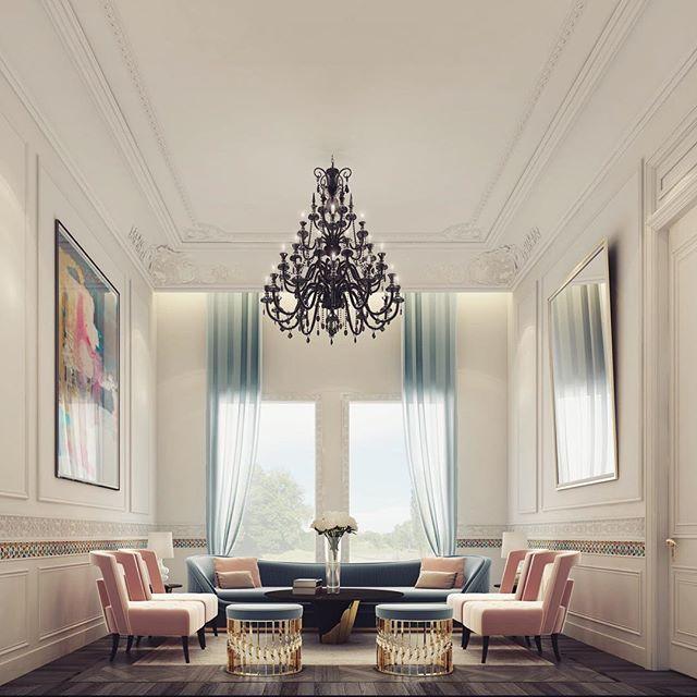 A lovely living room in Dubai | Pale blue, pink, white, black, gold ...