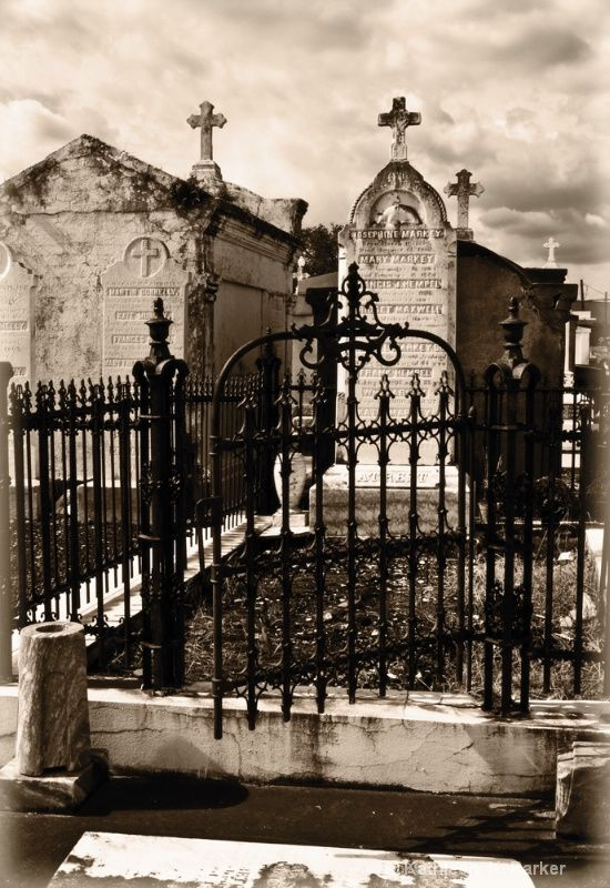 Cast And Wrought Iron Fence In Front Of Tomb Marker New