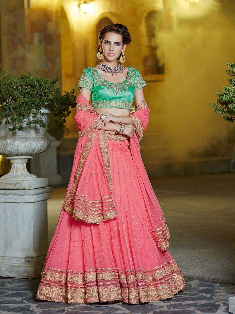 Pink wedding designer wear Rajasthani ghaghra choli in net