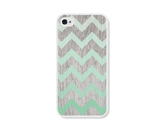 Mint Green Ombre Chevron iPhone 4 Case - Plastic iPhone 4 Cover -  Wood iPhone 4 Skin - Brown Woodgrain Cell Phone Case on Etsy, $18.00