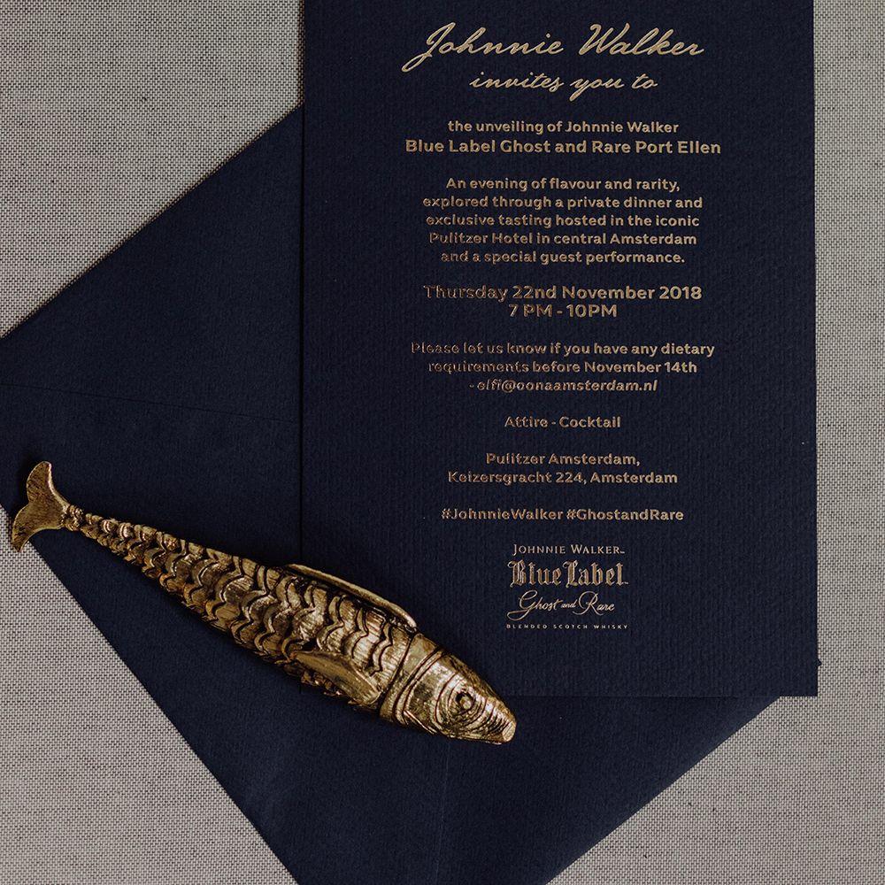 Invite for Johnnie Walker  #johnniewalker #oonaamsterdam #ghostandrare #label #bluelabel #whisky #paperandink #graphicdesign #grafisch #invite