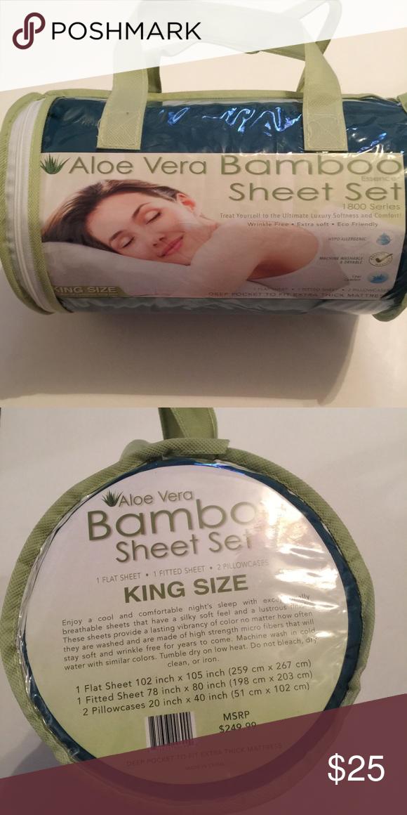 Aloe Vera Bamboo Sheet Set King Size Nwt My Posh Closet