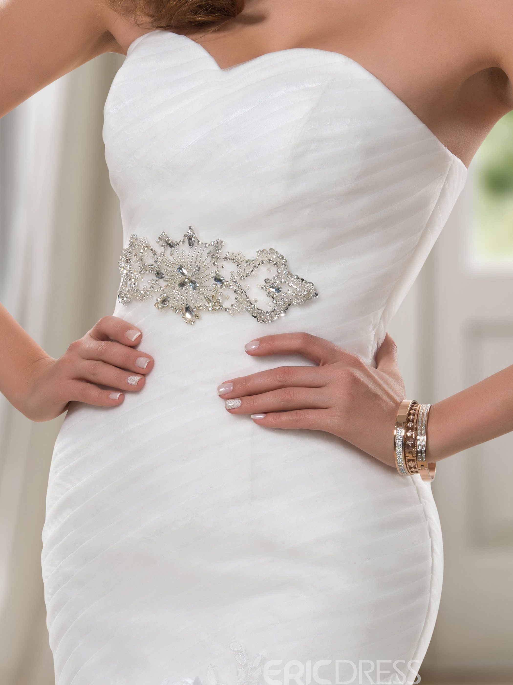 Charming trumpet sweetheart sequins ruched laceup wedding dress