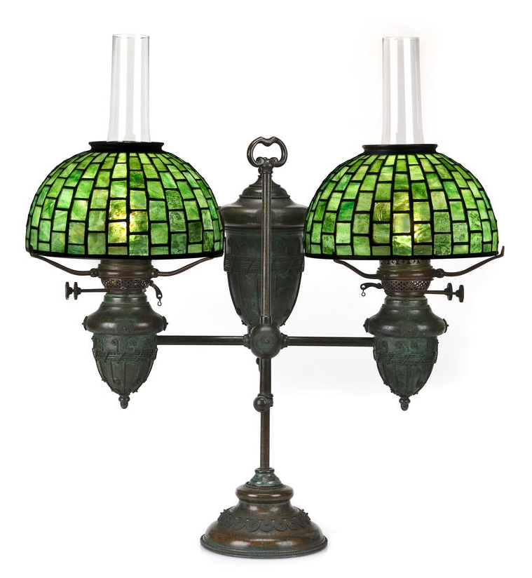 Tiffany Double Oil Lamp Original Hand Scrolled Tiffany