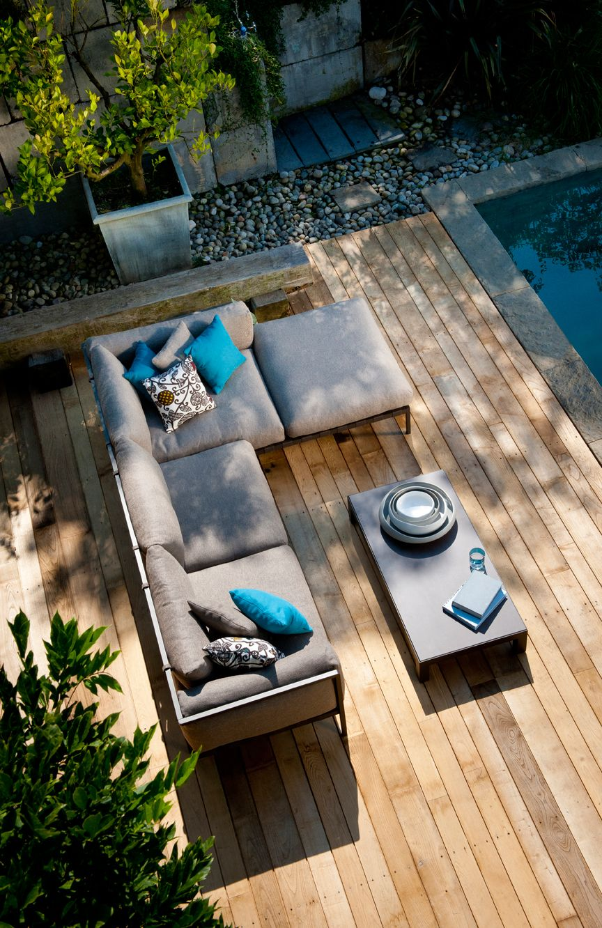 natal alu sofa with pouf and matching coffee table from trib - Outdoor Mobel Set Tribu