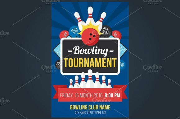 Bowling poster Bowling, Flyer template and Flyer design templates - bowling flyer template
