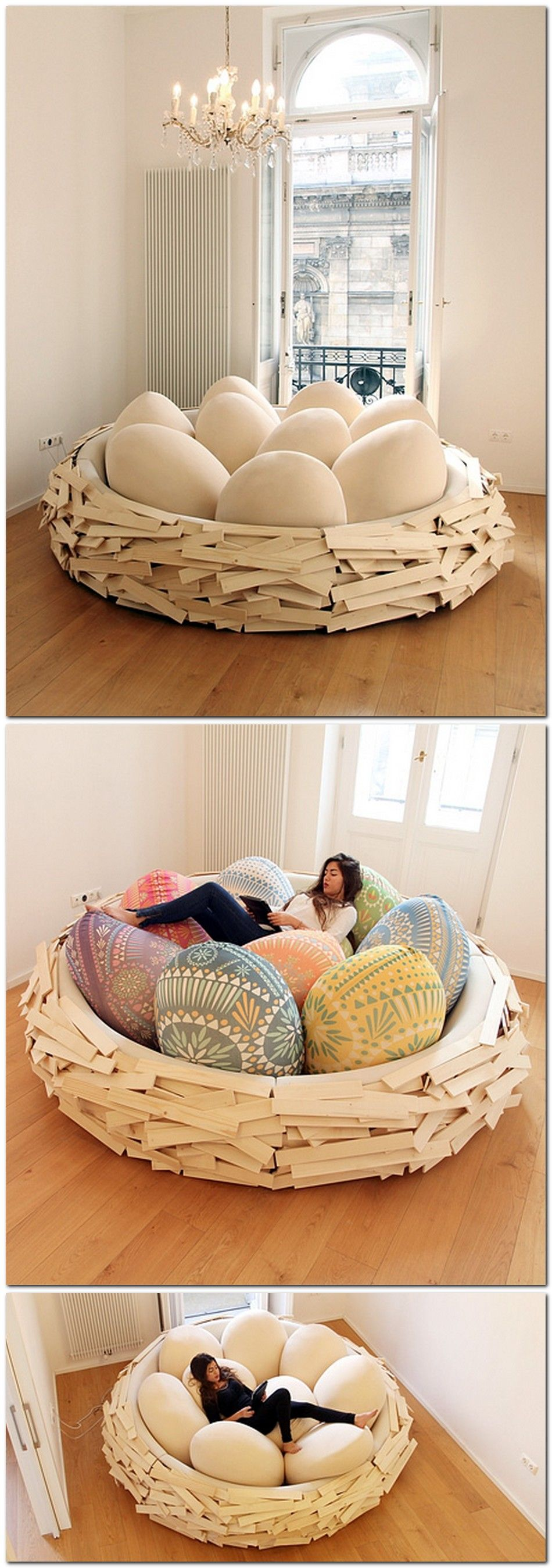 Unusual And Creative Bed Designed By OGE Looks Like A Giant Birdu0027s Nest.