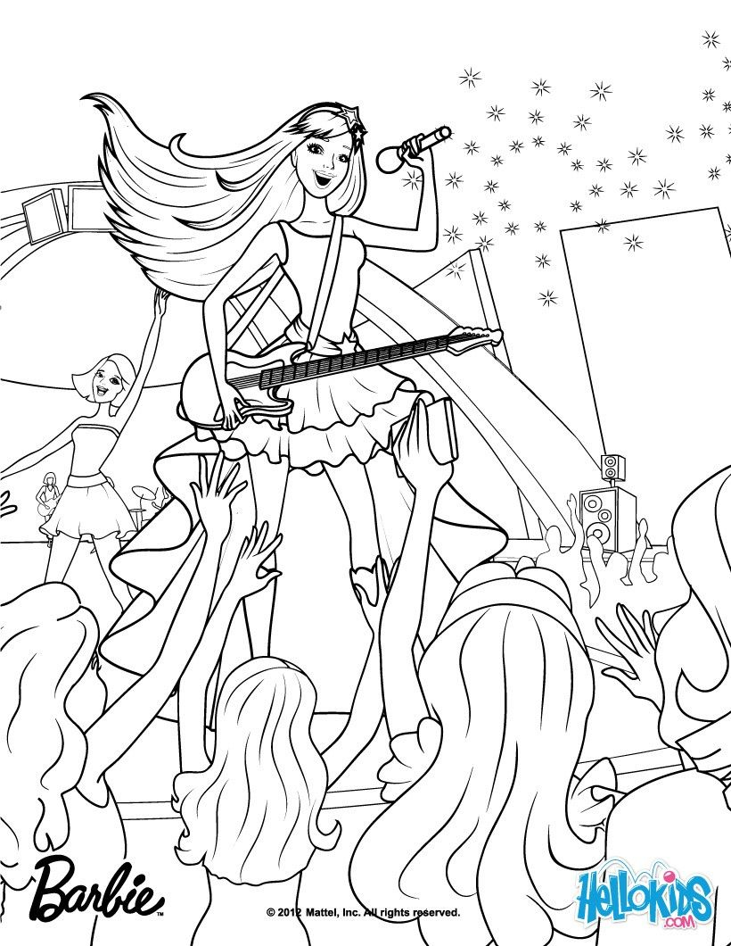 Keira The Popstar Coloring Page More Barbie The Princess The Popstar Coloring Pages On Helloki Barbie Coloring Princess Coloring Pages Barbie Coloring Pages