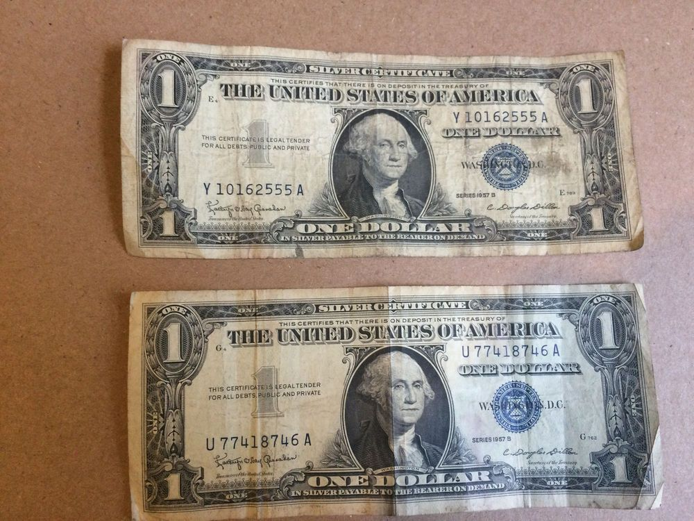 1957b One Dollar Well Circulated Silver Certificate Note 1 Bill