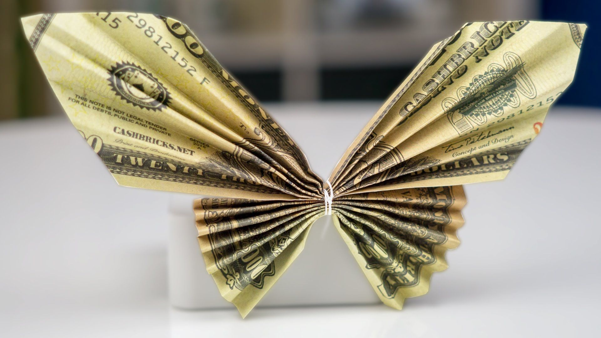 Money Twist Tie Butterfly - Make-Origami.com | 1080x1920