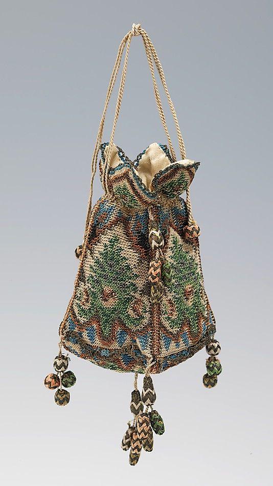 Reticule - silk and metal - 1800–1810 | 소재 | Pinterest | Beutel ...