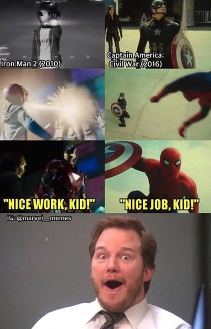 Spider Man And Iron Man S Relationship Is One Of A Kind In The Marvel Cinematic Universe Thankfully Their Rela In 2020 Marvel Memes Iron Man Memes Funny Marvel Memes