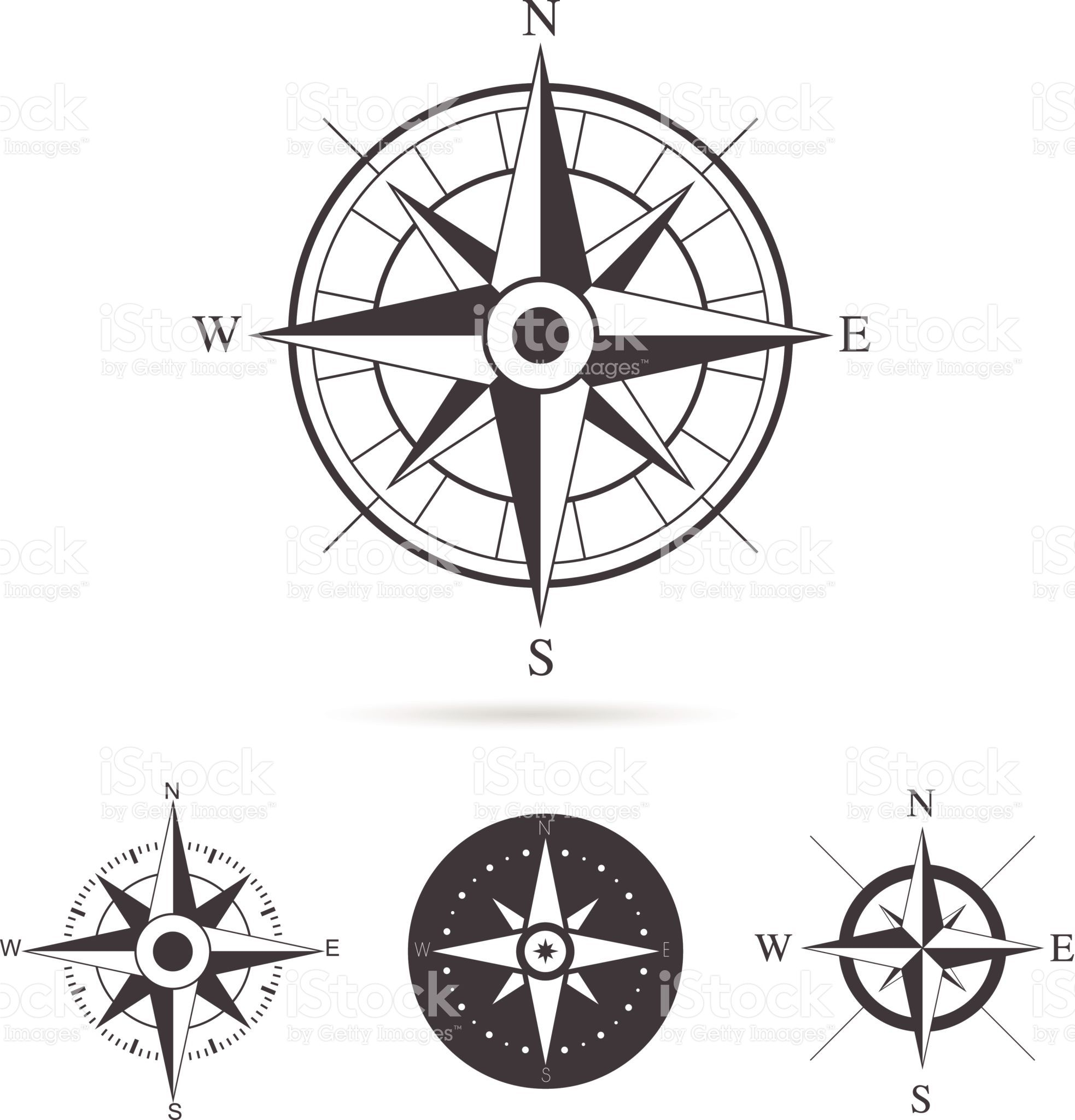 Collection of compass rose design Vector illustration