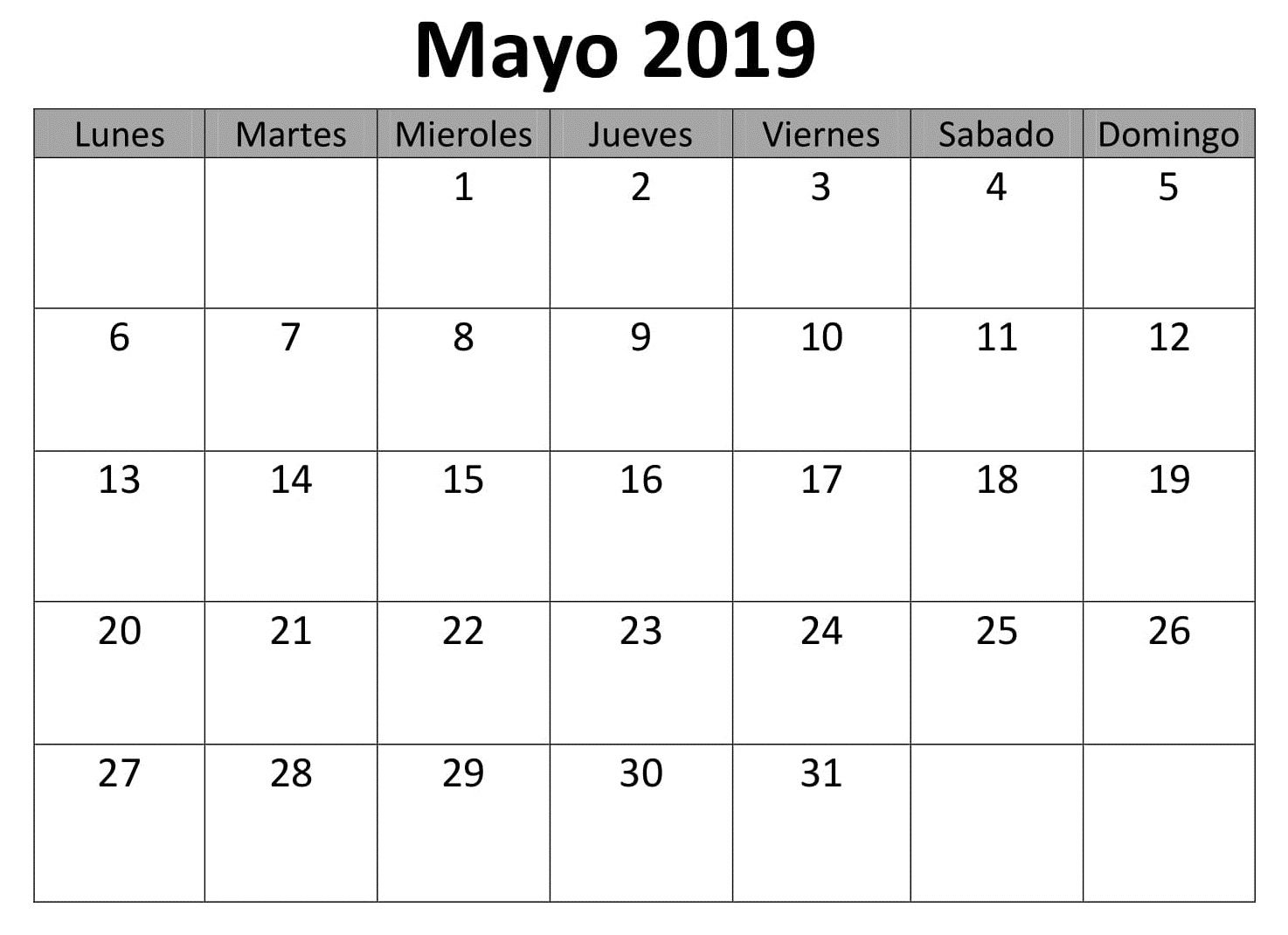 Calendario Su Excel.Mayo Calendario 2019 Para Imprimir Excel Calendario Mayo
