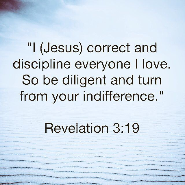 """""""I (Jesus) correct and discipline everyone I love. So be diligent and turn from your indifference."""" Revelation 3:19  http://bible.com"""