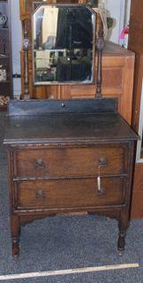 Vintage Oak Wood Vanity Dresser With