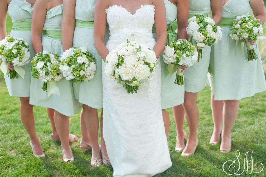 Green and white striped dresses. Linen wedding dress.