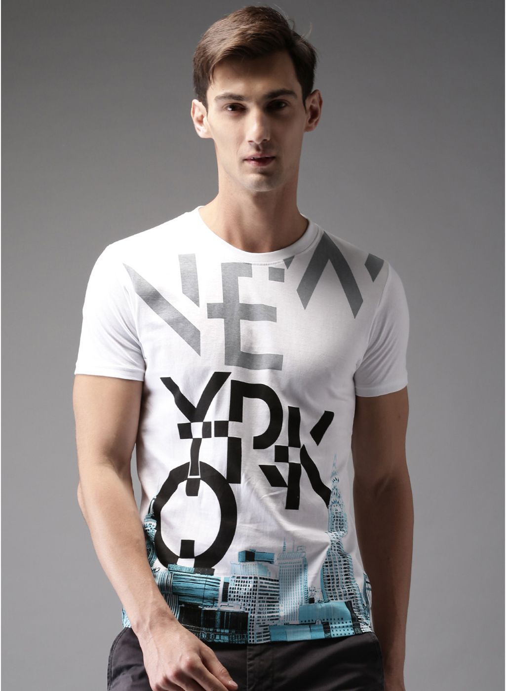 Buy Moda Rapido White Printed Regular Fit Round Neck T Shirt For Men