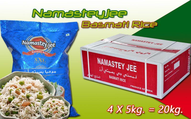 RP Basmati Rice Ltd. Introducing Namasteyjee Basmati Rice in New Box Packing in 4X5kg. = 20kg .......