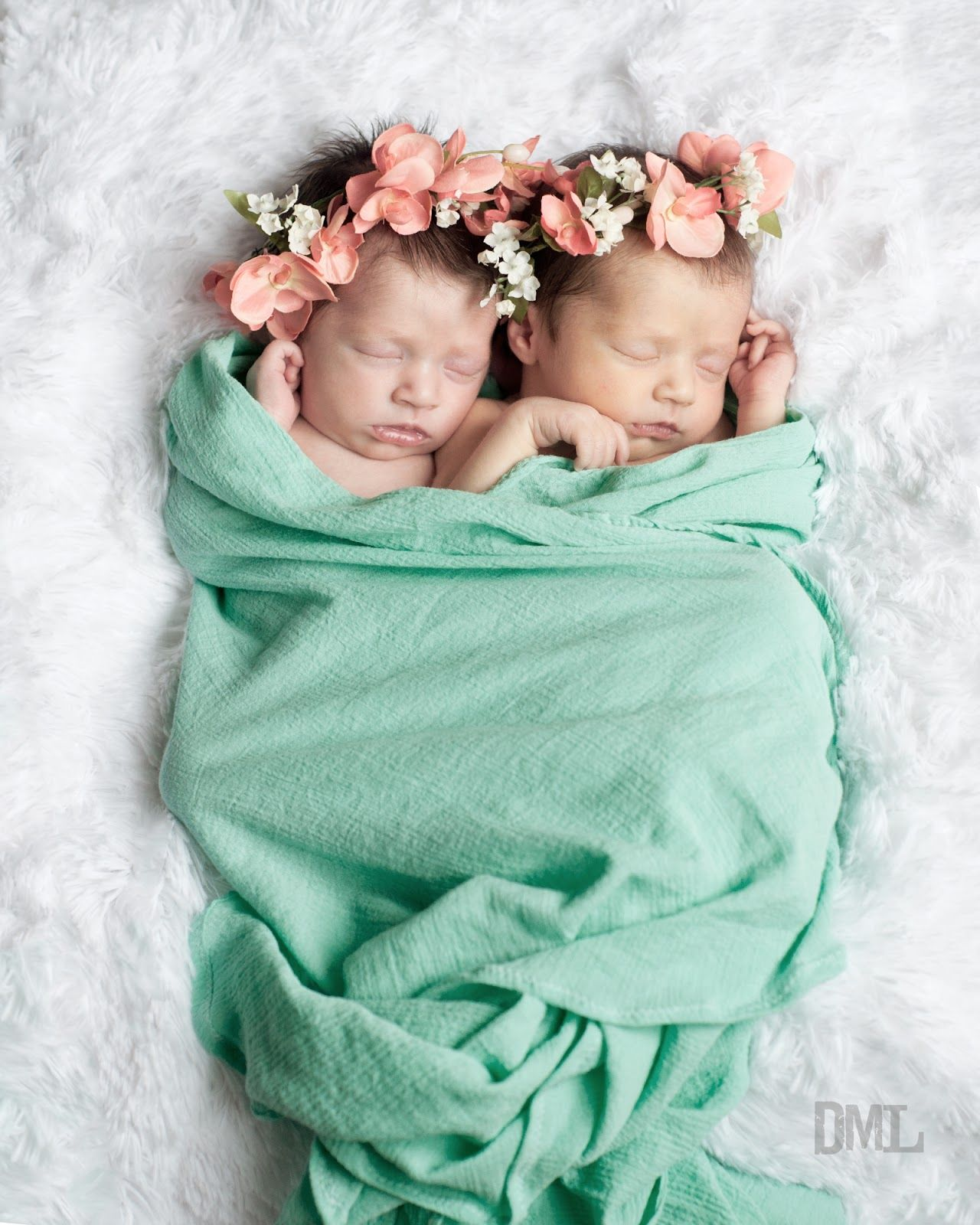Newborn identical twin girls