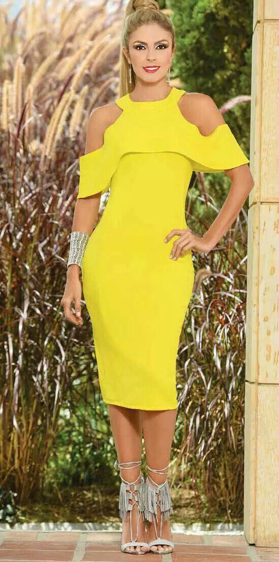 Vestidos amarillos cortos para gorditas
