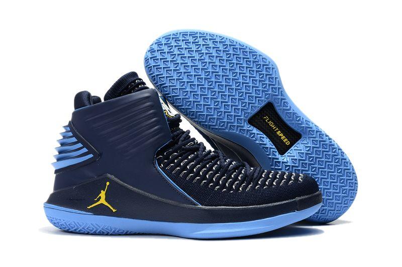 26a38b0b16b24c 2017 Air Jordan 32 Marquette Flyknit Navy Blue University Blue Yellow For  Sale