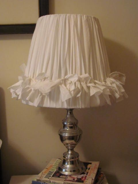 Diy lamp shade ripped fabric knots could do this with cute diy lamp shade ripped fabric knots could do this with cute ribbons as long aloadofball Images