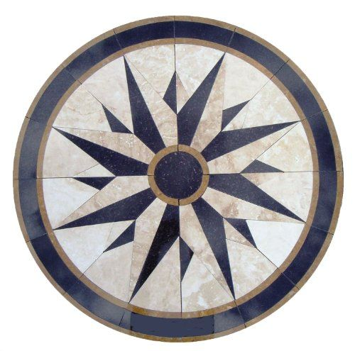 Of Tile Floor Medallion Marble Mosaic Compass North Star