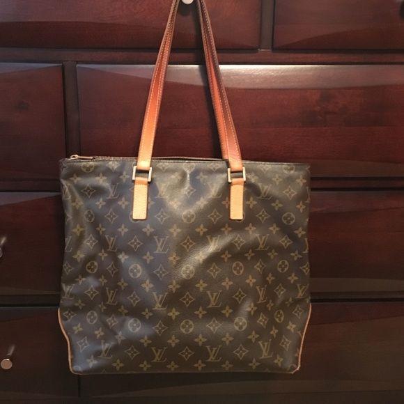 Authentic Louis Vuitton Monogram Cabas Mezzo Bag   Nail polish spill ...