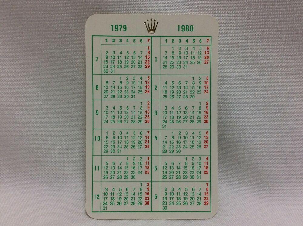 Rolex Vintage 1979 1980 Original Calendar Card Free Shipping