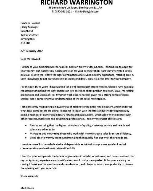 Resume Example, Pic Retail Example Of A Cover Letter ~ Example of - cover letters for resume examples