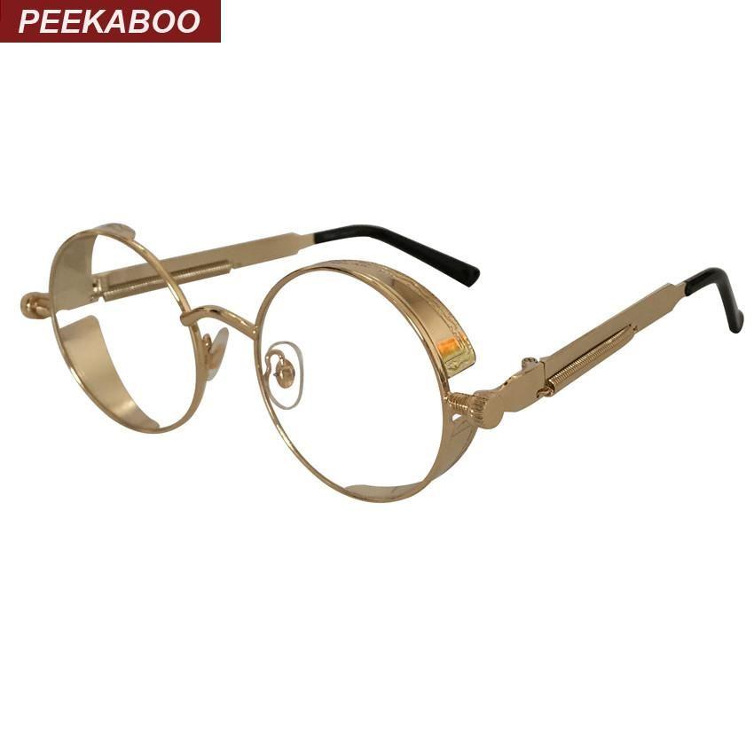 Peekaboo New Round Metal Frame Glasses Gold Clear Shield