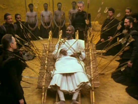 Peter Brook's Mahabarata. Bhishma lies dying on a bed of arrows (Still from film)