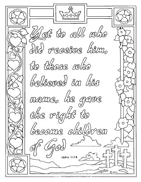 John 1 12 Print And Color Page Bible Coloring Pages Coloring